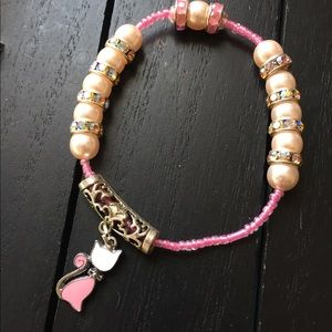8.5 inch Pink Pearl/ Kitty Charm Bracelet